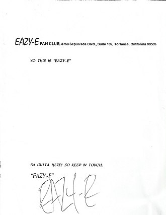 Eazy-E - Wright's signature written for an Eazy-E Fan Club letter