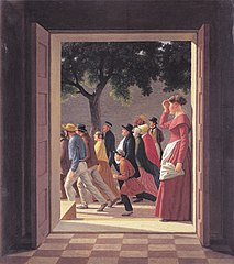 View through a door to running figures