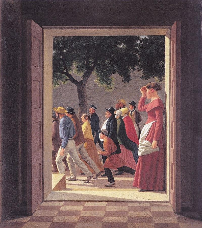 Eckersberg, CW - Udsigt gennem en dør til løbende figurer - 1845.jpg