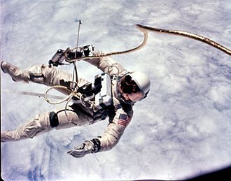 Hand-Held Maneuvering Unit - Astronaut Ed White uses the first Hand-Held Maneuvering Unit during his spacewalk on Gemini 4