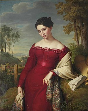 Paisley shawls - 1824 portrait of an elegant lady with an embroidered shawl