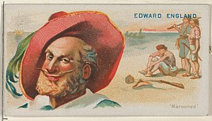 Edward England - Image: Edward England, Marooned, from the Pirates of the Spanish Main series (N19) for Allen & Ginter Cigarettes MET DP835029