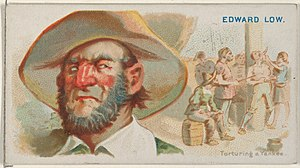 Edward Low - Edward Low, Torturing a Yankee, from the Pirates of the Spanish Main series (N19) for Allen & Ginter