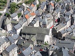 Murat, Cantal - The church and surrounding buildings, in Murat