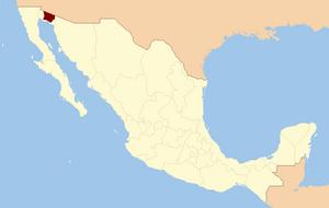Gran Desierto de Altar - Locator map of the Gran Desierto de Altar, in Sonora, Northwest Mexico.