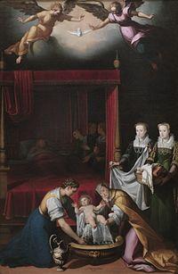 El nacimiento de la Virgen, por Juan Pantoja de la Cruz.jpg