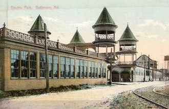 Electric Park, Baltimore - Postcard view of Electric Park, Baltimore's main entrance, c. 1907. The entrance also served as a stop for the local trolley (as evidenced by the tracks in the lower right corner). The park buildings were razed in 1916.