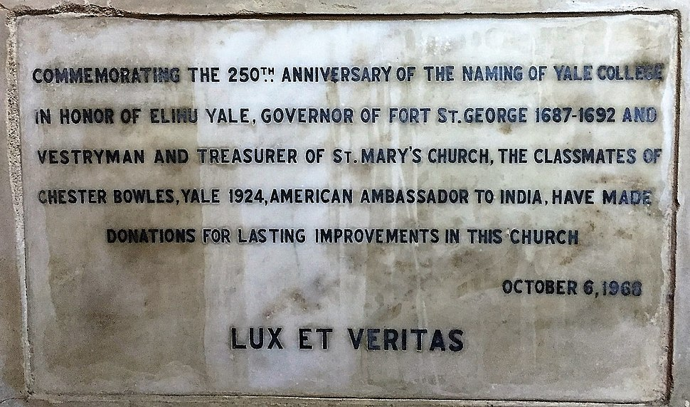 Elihu Yale Memorial, St. Mary%27s Church, Madras
