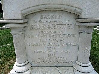 Elizabeth Patterson Bonaparte - Image: Elizabeth Patterson Bonaparte gravestone front detail