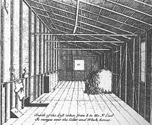 A sketch of a loft, containing a bale of hay, some implements on a wall, and a window at the end