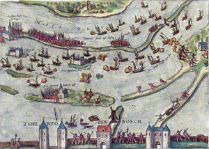 Battle of Empel - The Battle of Empel in December 1585, as pictured at the end of the 16th century by Frans Hogenberg and Georg Braun.