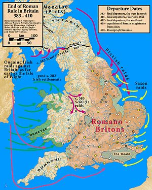 British Latin - Britain at the end of Roman rule showing the Romano-British area within the lowland zone