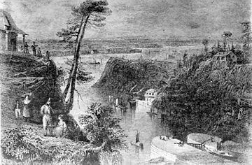 An engraving of the Rideau Canal locks at Bytown Engraving of Rideau Canal locks.jpg