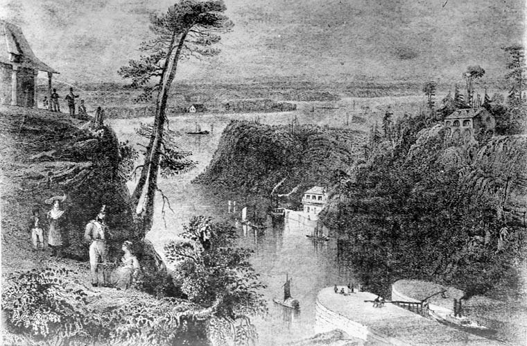 Engraving of Rideau Canal locks