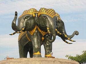 Airavata - Erawan statue in Chiang Mai, Thailand.