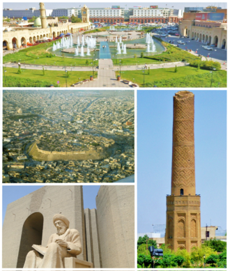 Erbil - Clockwise, from top: Downtown, Mudhafaria Minaret, Statue of Ibn al-Mustawfi, Citadel of Erbil