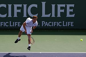 Ernests Gulbis - Gulbis serving to David Nalbandian at the 2008 Pacific Life Open.