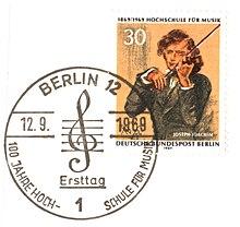 Joseph-Joachim-Briefmarke zum Jubiläum der Hochschule für Musik Berlin (Quelle: Wikimedia)