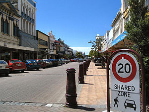 Locations in New Zealand with a Scottish name - Cnr of Esk and Dee Streets, looking up Esk st, one of the main shopping streets of Invercargill.