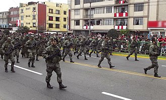FN P90 - Peruvian special forces carrying P90s during a military parade in 2012
