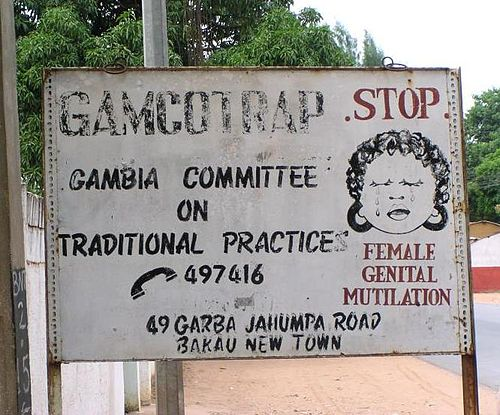 Anti-FGM road sign, Bakau, Gambia, 2005 FGM road sign, Bakau, Gambia, 2005.jpg