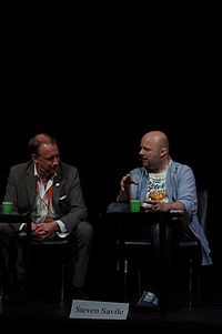 Savile (right) with Swedish horror writer Anders Fager at Eurocon (Swecon) in Stockholm 2011