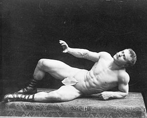 "Fig leaf - In this photo, Sandow portrays ""The Dying Gaul"", a pose taken from an ancient Roman sculpture."