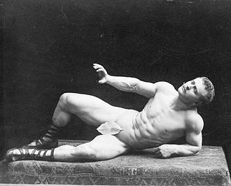 Fig leaf - In this photo, Sandow portrays The Dying Gaul, a pose taken from an ancient Roman sculpture.