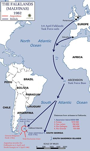Infographic map depicting the distances to bases at each point in the 1982 British campaign during the Falklands War
