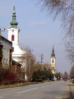 Main street with Calvinist and the abandoned Lutheran Church