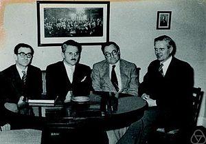 Herbert Busemann -  Werner Fenchel, Aleksandr Danilovich Aleksandrov, Herbert Busemann, Børge Jessen (1954).