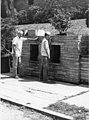 File-Black & white print; structure-Jug Fountain; Whittington Ave. cold spring; man & woman fill jugs (cbeba30c-60ca-49c2-b94d-6480277076d3).jpg