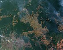 La déforestation détruit les mécanismes naturels de régulation (vue satellite de la déforestation au Brésil)