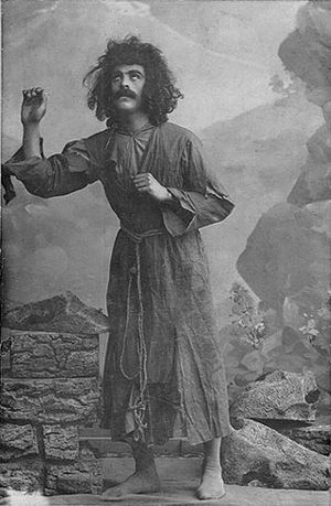 Uzeyir Hajibeyov - Huseyngulu Sarabski as the first Majnun in the opera Leyli and Majnun (Baku, 1908).