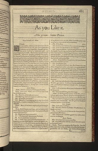 As You Like It - First page of As You Like It from the First Folio of Shakespeare's plays, published in 1623