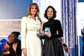 First Lady Melania Trump Poses for a Photo With International Women of Courage Awardee Natalia Ponce de Leon of Colombia (33593821791).jpg