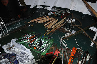 Blockade of the Gaza Strip - Pictured here: Knives, wrenches, and wooden clubs used to attack the soldiers during the 2010 Gaza flotilla raid.