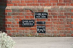 Flood marks on the wall