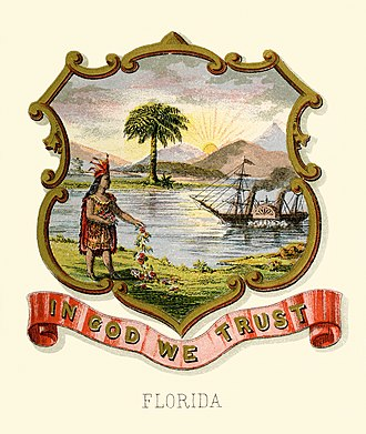 Coats of arms of the U.S. states - Image: Florida state coat of arms (illustrated, 1876)