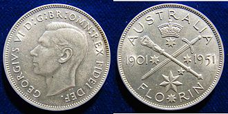 William Leslie Bowles - The reverse of the Australian Florin 1951 was designed by William Leslie Bowles to commemorate the 50 Years of the Commonwealth of Australia. This coin carries the standard obverse designed by Thomas Humphrey Paget