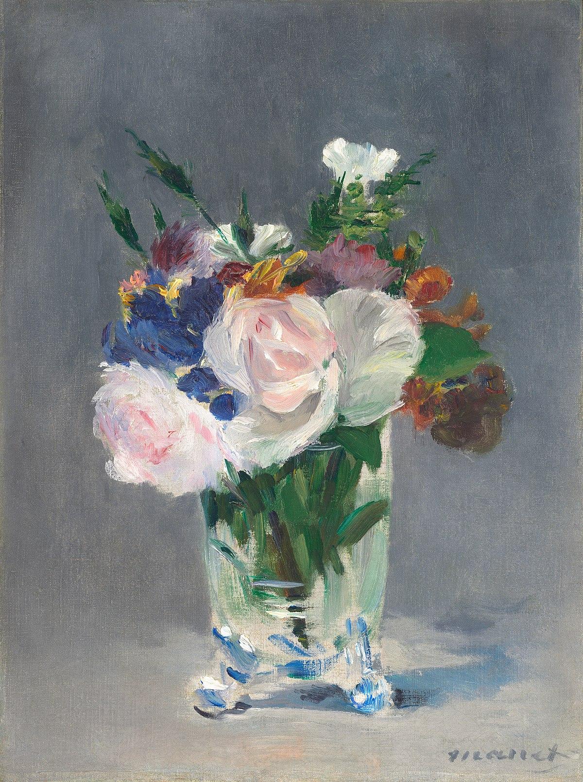 Картинки по запросу flowers in a crystal vase manet