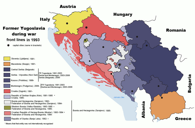 The Federal Republic of Yugoslavia and territories of Serb breakaway states (Republika Srpska and Republika Srpska Krajina) during the Yugoslav wars (1991-95) Former Yugoslavia wartime.png