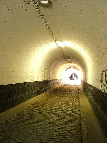 Fortress 2 of Wommelgem is one of the Brialmont Fortresses around Antwerp. Picture of the passageway from the entrance to the inner fortress in the direction of the inner fortress.