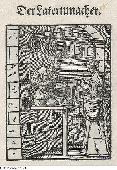 Darstellung eines Laternenmachers aus dem Ständebuch (1568) von Hans Sachs (1494-1576).