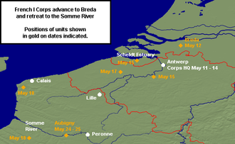 1st Army Corps (France) - Advance to Breda and retreat to the Somme.