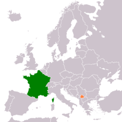 Map indicating locations of France and Kosovo