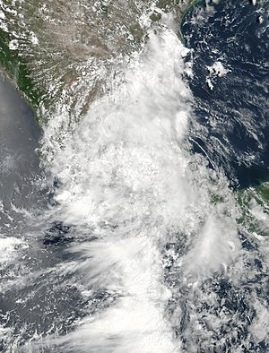 Hurricane Franklin - The remnants of Franklin over Mexico on August 10