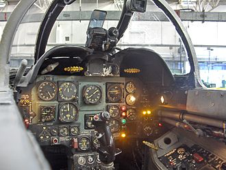 Fiat G.91 - The cockpit of a G-91 R1 in the Istituto Tecnico Industriale Aeronautico, Udine, Friuli-Venezia Giulia, Italy