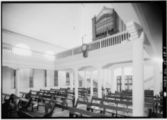 GENERAL INTERIOR VIEW OF REAR OF NAVE, SHOWING BALCONY and ORGAN - Moravian Church, King Street vicinity, Christiansted, St. Croix, VI HABS VI,1-CHRIS,52-7.tif