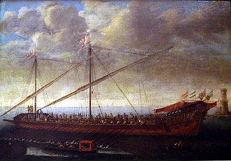 Action of 14 June 1742 - Spanish galley of the late reign of Charles II. Painting by Manuel de Castro.